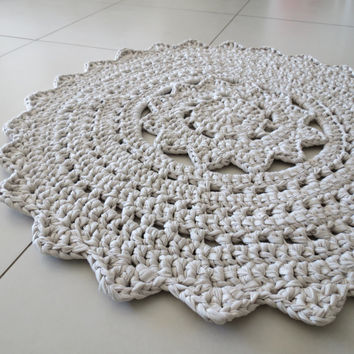 "A doily crocheted rug 35"" (90 cm) diameter Made of stretch fabric yarn and is available and ready to ship."