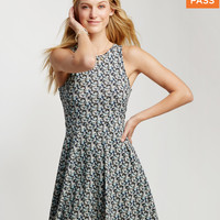 Ditsy Floral Lattice-Back Dress