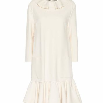 Frilled crêpe minidress