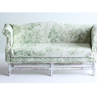 Miniature Sofa Couch Sage Green White Shabby Cottage Chic Country French Doll Furniture