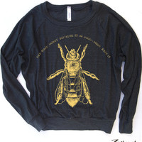 Womens HONEY Bee Tri-Blend Pullover - american apparel S M L (Color Options)