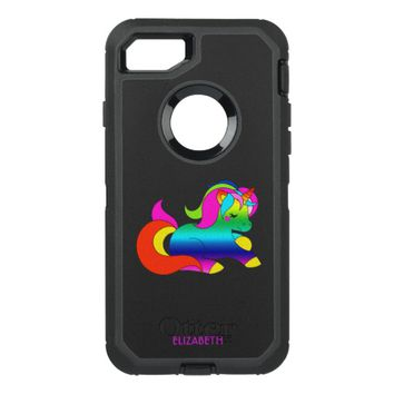 Cute Kawaii Rainbow Unicorn Cartoon Style OtterBox Defender iPhone 7 Case
