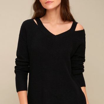 Little of Your Love Black Cutout Knit Sweater