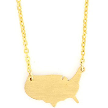 United States of America Necklace USA Silhouette Outline Map Pendant NR35 Gold Tone Fashion Jewelry