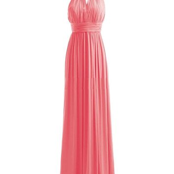 Fashion Plaza Women's High Neck Long Bridesmaid Dresses Slit Prom Evening Party Gowns