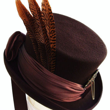 Victorian Brown & Bronze  steampunk  top  hat Leo