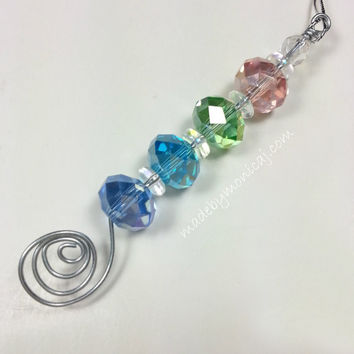 Rear View Mirror Charm.  Colorful Crystal Sun Catcher.  Mother's Day Gift.