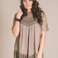 Bohemian Queen Fringe Crochet Top-Plus Size