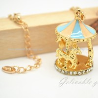 Colorful merry-go-round Pendant Necklace,Golden Carousel necklae,swing horse childhood memory