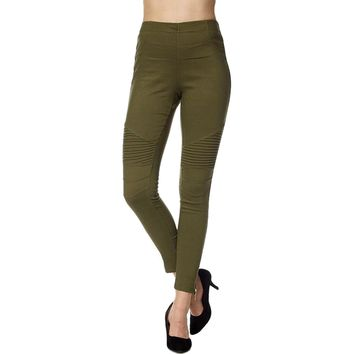 Moto Pants with Zipper on  Bottom, Olive