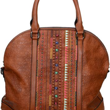 Western Inspired Colorful Vegan Leather Large Tote Bag Purse