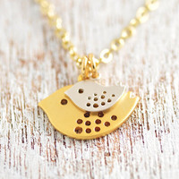 Gold mom and baby bird necklace  baby shower jewelry by MegusAttic