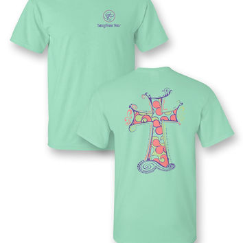 Sassy Frass Whispy Cross Whimsical  Mint Girlie Bright T Shirt