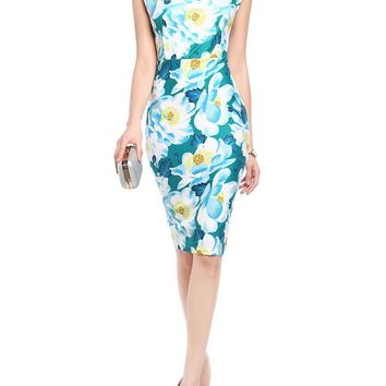 Streetstyle  Casual Designed Asymmetric Neck Slit Floral Printed Bodycon Dress