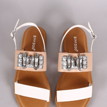 Bamboo Double Band Bejeweled Flat Sandal