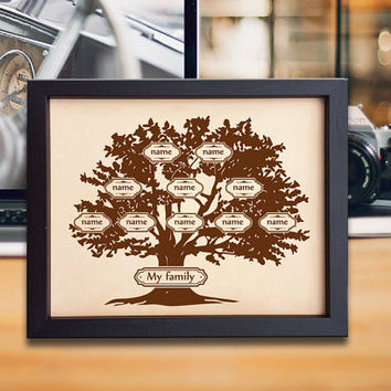 Lik72 Leather Engraved family tree personalized gift