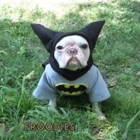 French Bulldog Boston Terrier Pug Dog Froodies Hoodies Cosplay Costume Batman