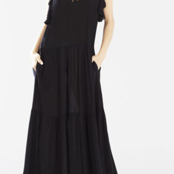 Lyndsy Flutter Sleeve Cutout Embroidered Maxi Dress - Black