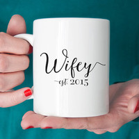 Wifey Mug - Personalized Wedding Date Double Sided 11 oz Ceramic - Bride Gift - Bridal Shower Wife Anniversary - Choose Your Colors