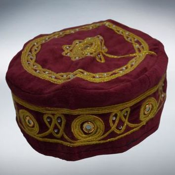 Red  Fez Velvet hat Handmade Cap Exotic medieval COSTUME HALLOWEEN EXOTIC