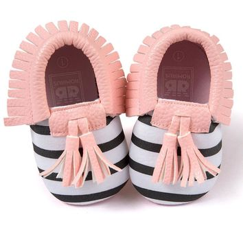 Baby Moccasins Shoes Soft PU Leather Tassel Girls Striped Moccs Moccasin Casual First