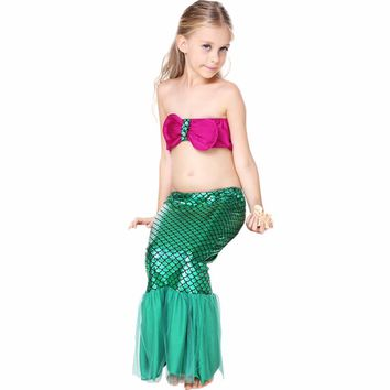 2017 NEW 3pcs Baby Kids Mermaid Tails Costume Swimwear Bikinis Swimsuit child bathing suit Girls Green mermaid Princess dress