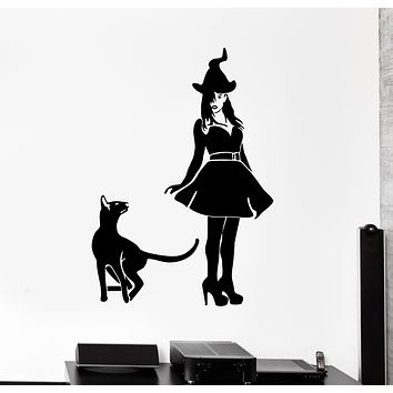 Wall Decal Witch Cat Pet Animal Halloween Witchcraft Vinyl Sticker (ed1496)