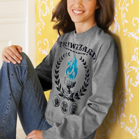 Harry Potter TRIWIZARD Tournament UNISEX SWEATSHIRT Heather Grey - Blue Flame of the Goblet of Fire Spits Out Harry Potter's Name