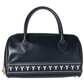 Saint Laurant Navy Blue Leather Chic Bowler Bag. Lovely!