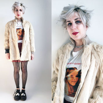80s Clothes / 1980s Vintage Fur Coat White Rabbit Fur Coat Grunge Coat Warm Winter Coat 80s Coat