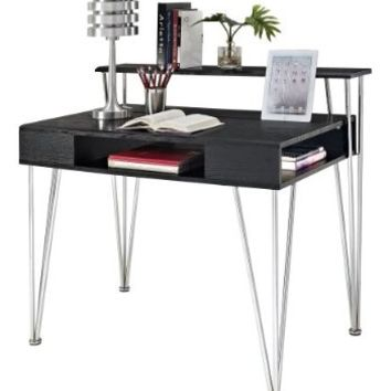 Altra Furniture Rade Computer Desk with Hutch, Black and Silver