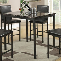 Contemporary Black Faux Marble Top Square Counter Height Dining Table with Metal Legs
