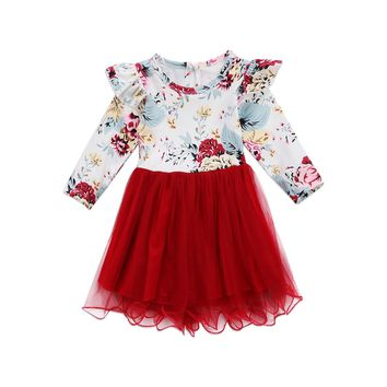 Newborn Kids Baby Girls Clothing Dress Cute Ruffles Long Sleeve Flower Tulle Tutu Dresses Clothes Girl New