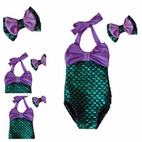 Kids swimwear one piece children swimsuit girls mermaid bathing suit cute bikinis mayo headwear bow baby swimming clothing set