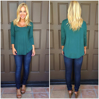 Vanessa 3/4 Sleeve Jersey Top - EMERALD