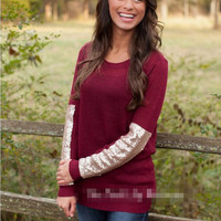 Loose Sequined T-Shirt in White or Wine Red