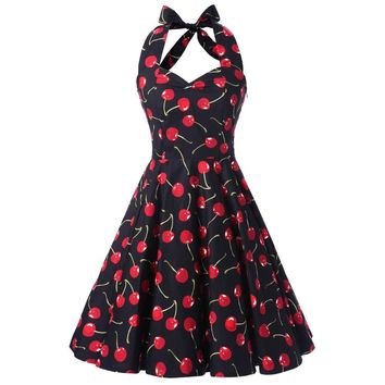 JLI MAY New arrive Cotton cherry women 50s swing dress rockabilly Audrey Hepburn Black pin up Sleeveless elegant Vintage summer