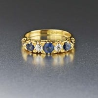 Antique 18K Gold Diamond & Sapphire Ring