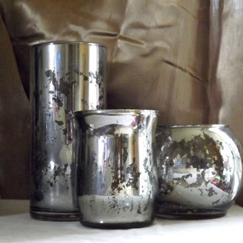 Set of 3 Mercury Glass Vases - Candle Holders