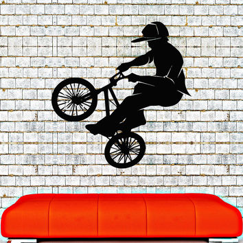 Vinyl Wall Decal Bike BMX Biker Teenager Room Extreme Sports Stickers Unique Gift (015ig)