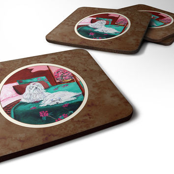 Maltese and puppy waiting on you Foam Coaster Set of 4 7110FC