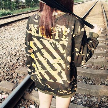 Camouflage OFF White Yellow ink striped pullover cotton loose hip-hop men and women sweater