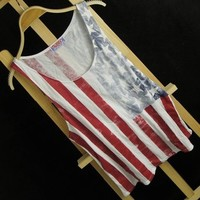 Magic Pieces Vintage USA Stars and the Stripes Print Vest