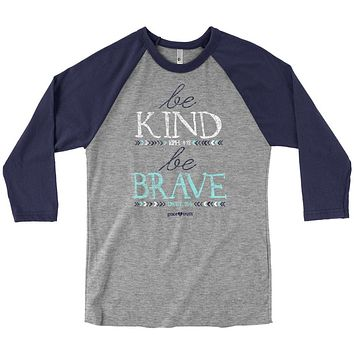 Cherished Girl Grace & Truth Be Kind & Be Brave Christian Long Sleeve Raglan T Shirt