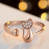 Persian Cat Crystal Ring Resizeable