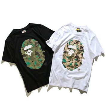 VXL8HQ Unisex BAPE Monogram Print Cotton T-Shirt Tee Top