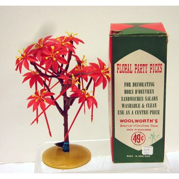 Vintage Woolworths Americas Christmas Store Poinsettia Party Picks With Box