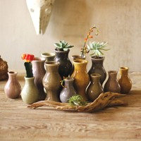 Ceramic Bud Vases ~ Earth Tone  (Set of 13)
