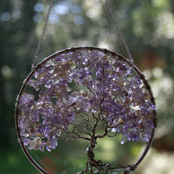 SunCatcher Tree of Life - Ametrine Gemstone on Silver Wire Wrapped Tree - Sun Catcher Window Wall Ornament Handmade Gemstones