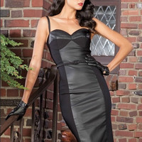 Stop Staring! Vega Dress in Black With Faux Leather Inset